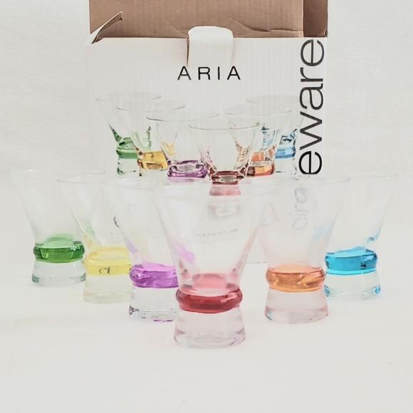 Aria Circle Ware Other - Aria Circle Ware 6pc 2oz Multicolored Shot Glasses